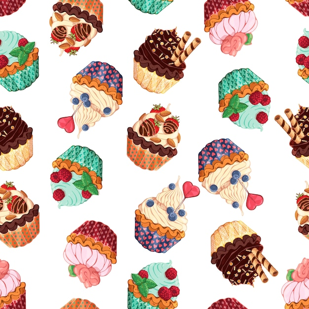 Pattern of different kinds of sweet baskets Premium Vector
