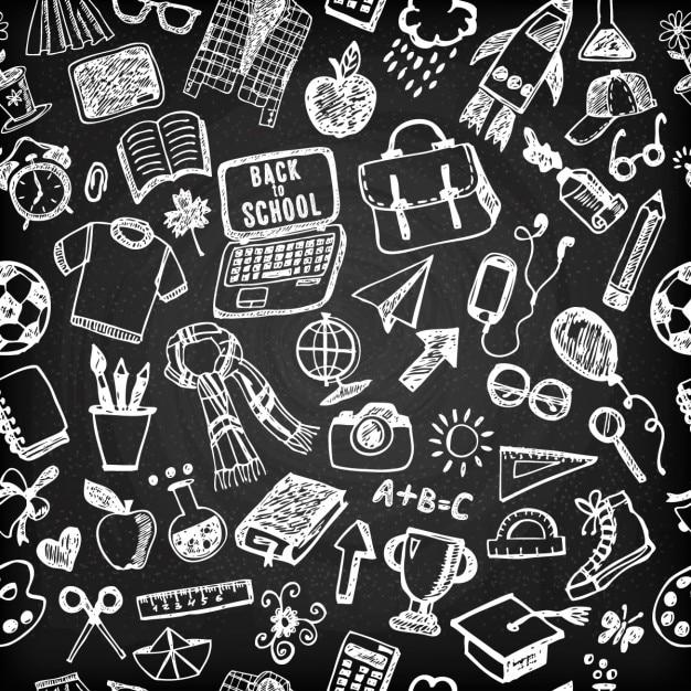 Pattern of drawings school on blackboard Free Vector