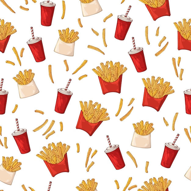 Pattern on the fast food theme: french fries. Premium Vector