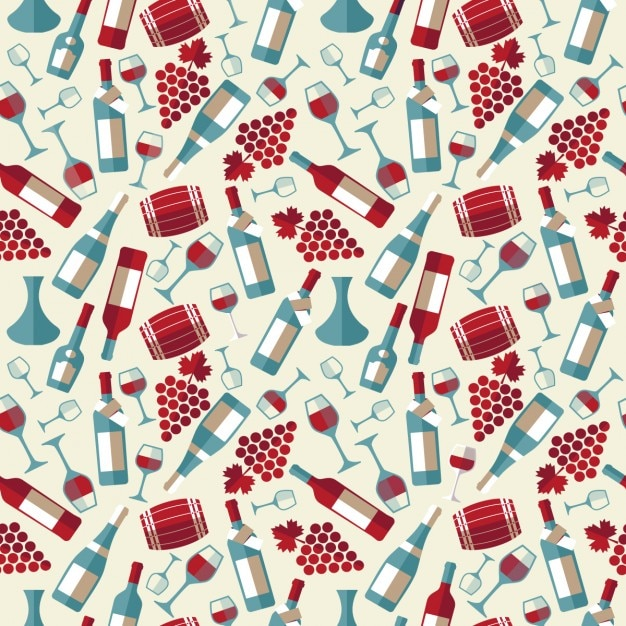 Pattern of flat wine products Free Vector