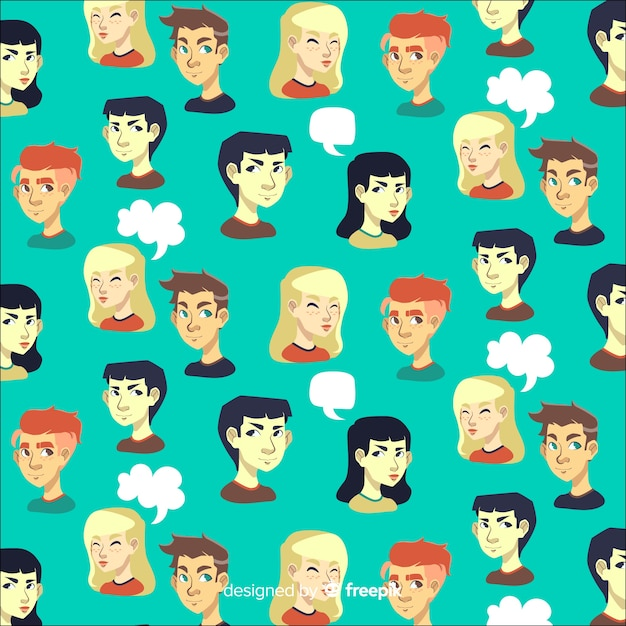 Pattern of flat young people Free Vector