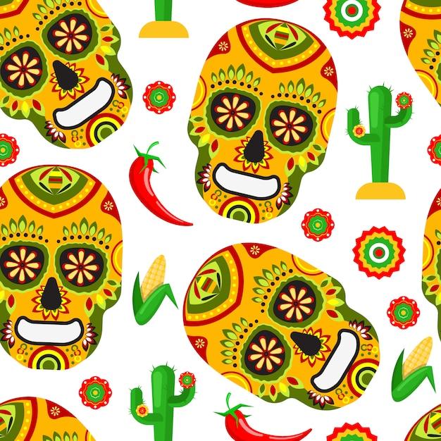 メキシコの死者の日のパターン Premiumベクター