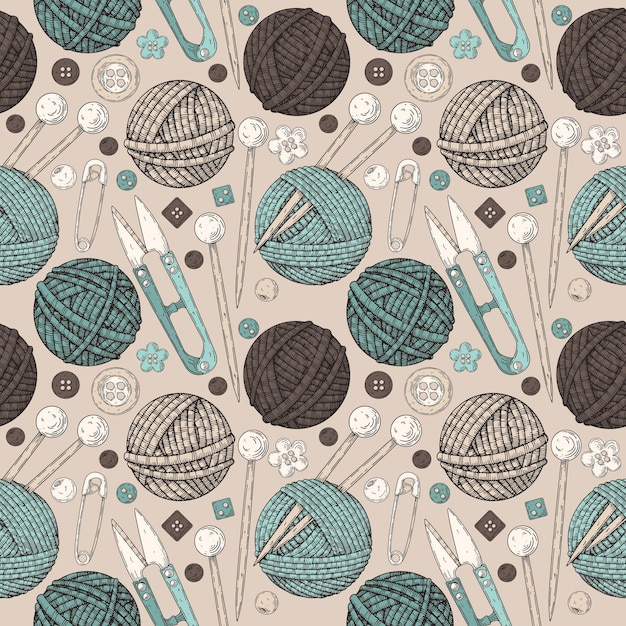 Pattern from the knitting kit. Premium Vector