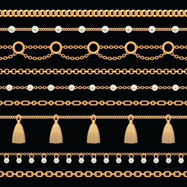 Pattern of golden metallic chain borders with pearls and tassels Premium Vector