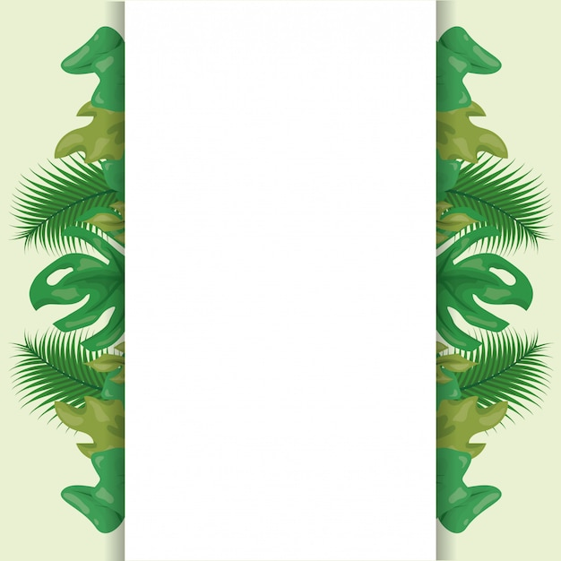 Pattern of green tropical leaves with blank space Free Vector
