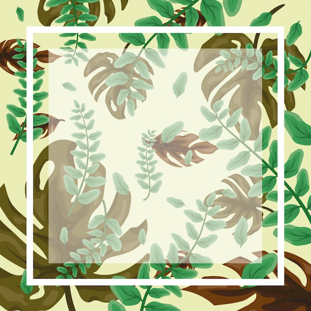 Pattern of green tropical leaves with frame and blank space to insert text or design Free Vector