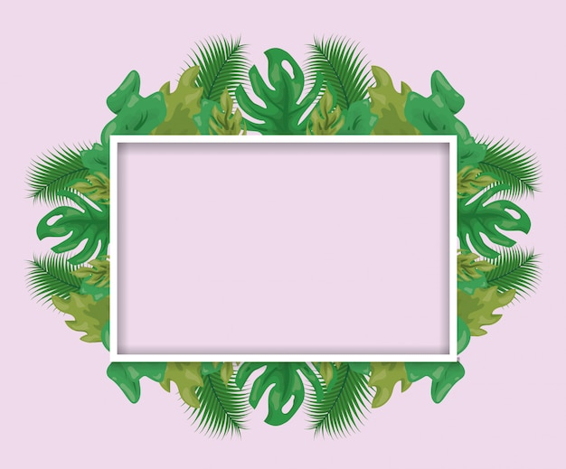 Pattern of green tropical leaves with frame Free Vector
