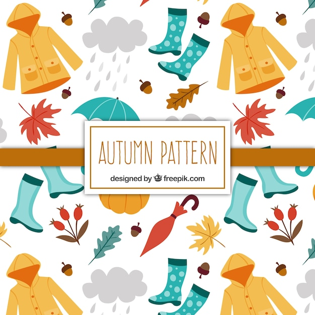 Pattern of hand-drawn autumn elements and accessories Free Vector