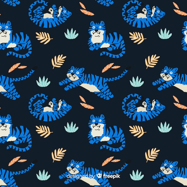 Pattern of hand drawn tigers Free Vector