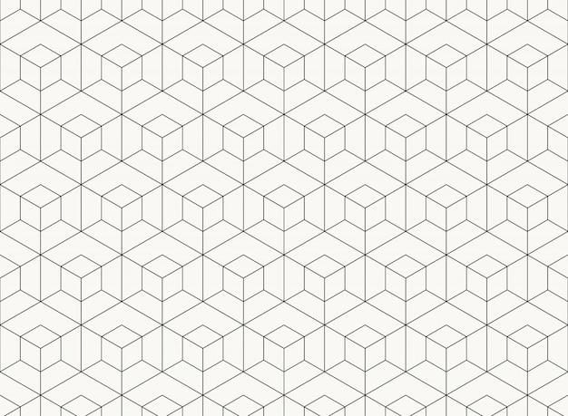 Pattern hexagon design geometric black line of tech background. Premium Vector