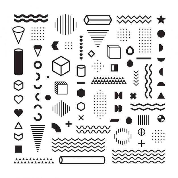 Pattern hipster abstract. form geometric line and variety shapes. polkadots. fashion style seamless Premium Vector