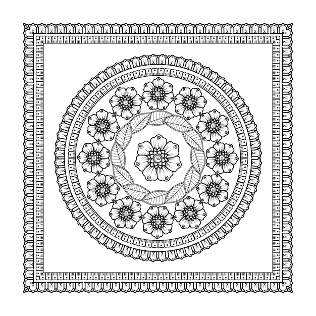꽃과 만다라의 형태로 패턴 프리미엄 벡터