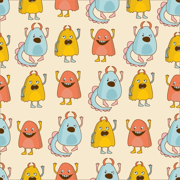 Pattern monsters Free Vector
