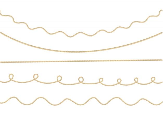 異なる方向のマリンロープの結び目と背景のパターン。 Premiumベクター