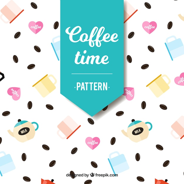 Pattern of coffee beans and coffee shop