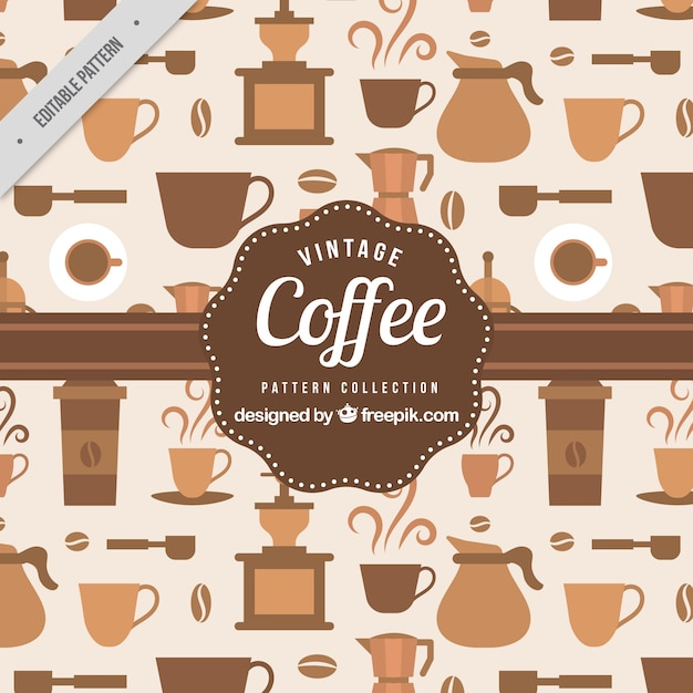 Pattern of coffee elements in vintage\ style