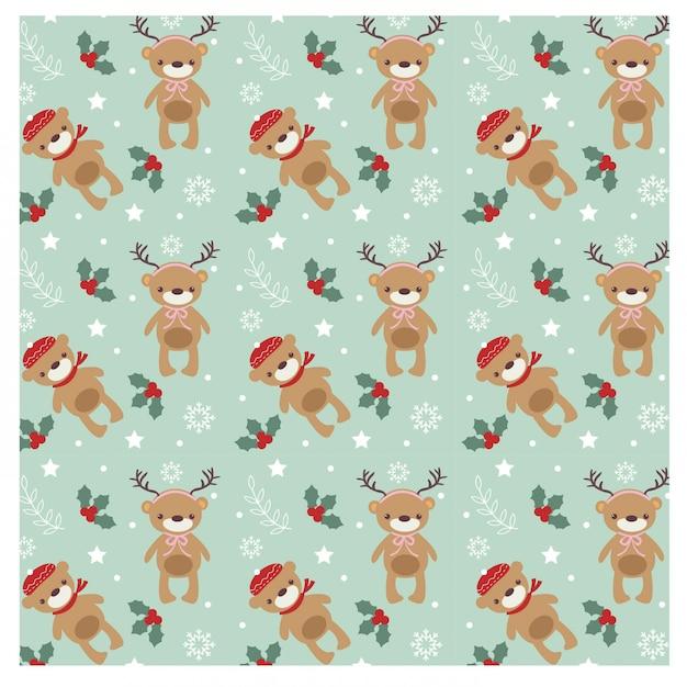 かわいいクマのクリスマスコンセプトのパターン Premiumベクター