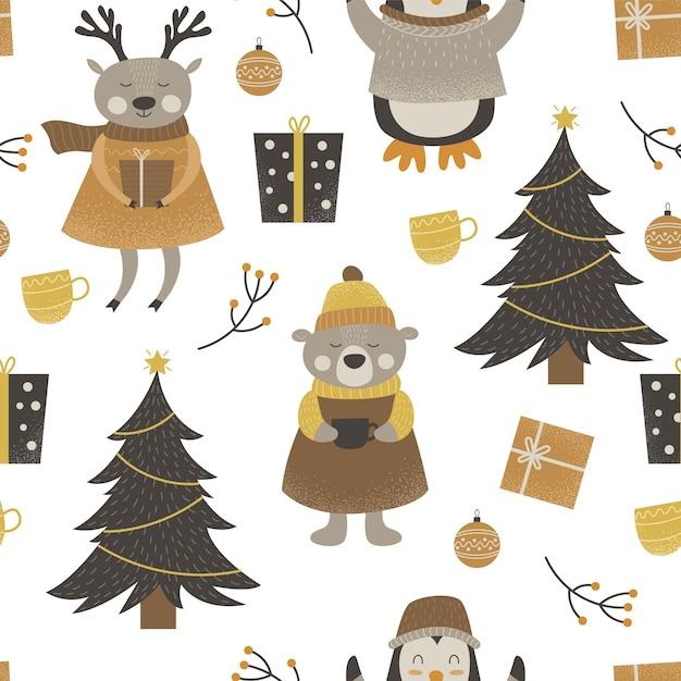 Шаблон милых лесных животных с рождеством Premium векторы