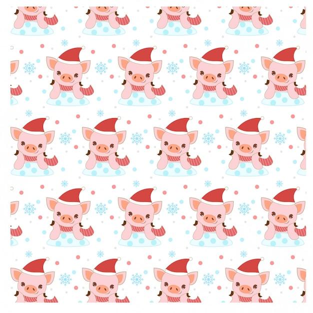 クリスマスの衣装でかわいい幸せな豚のパターン Premiumベクター