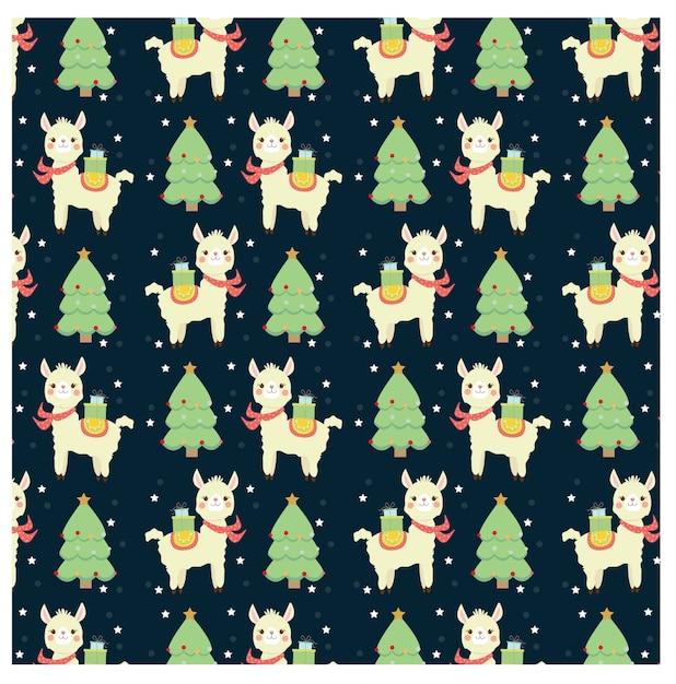 かわいいラマとクリスマスツリーのパターン Premiumベクター