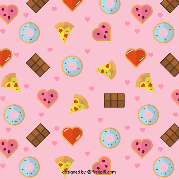 Pattern of delicious food and hearts Free Vector