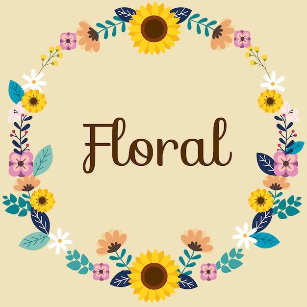 Узор цветка на тексте весны. Premium векторы