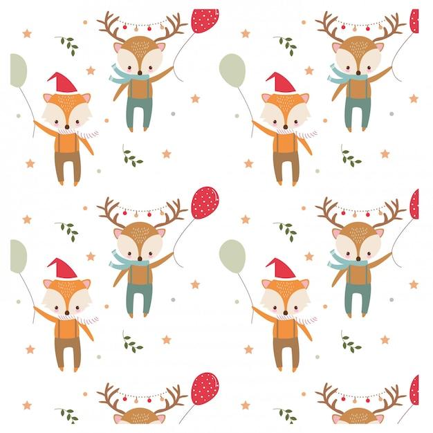 クリスマスフェスティバルテーマのキツネとシカのパターン Premiumベクター