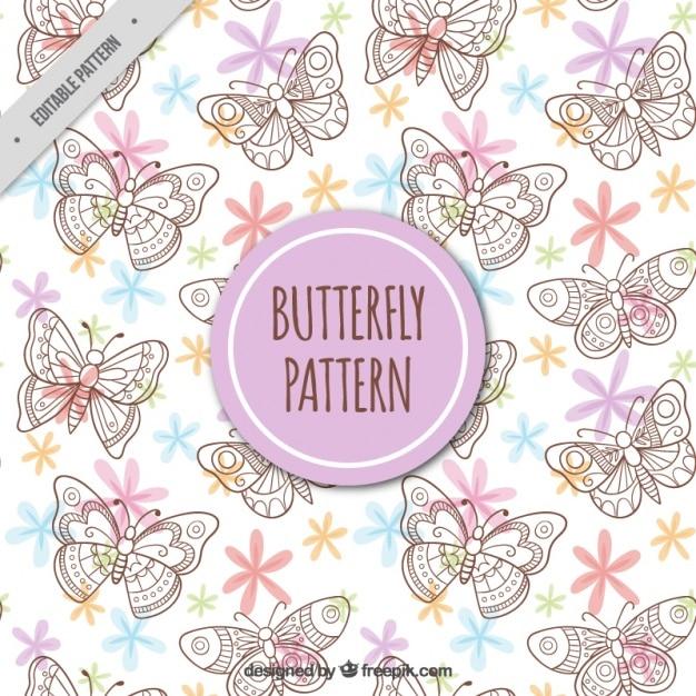 手描き蝶のパターン 無料ベクター
