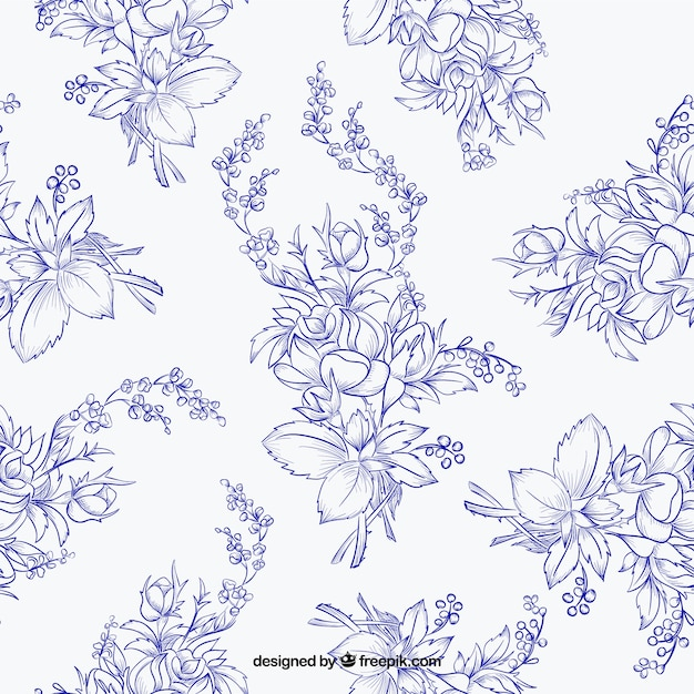 pattern of hand drawn flowers in blue color vector free
