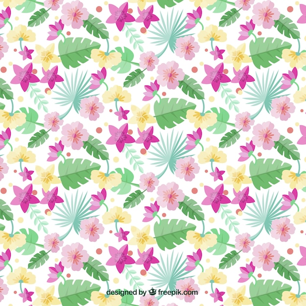 Pattern of palm leaves and exotic flowers in\ flat style