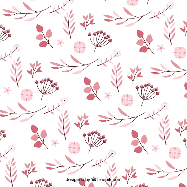 Pattern of pink flowers in flat design