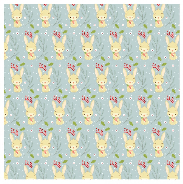 ウサギとクリスマスリーフのパターン Premiumベクター