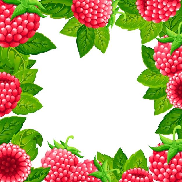 ラズベリーのパターン。緑の葉とラズベリーのイラスト。装飾的なポスター、エンブレム天然物、ファーマーズマーケットのイラスト Premiumベクター