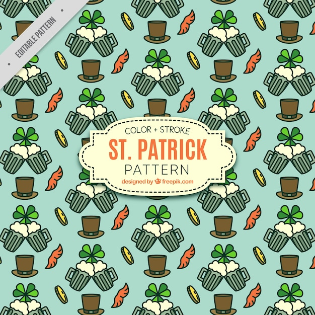 Pattern of traditional elements of saint patrick