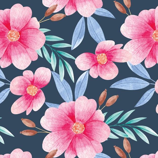 Шаблон акварель цветущих цветов Premium векторы
