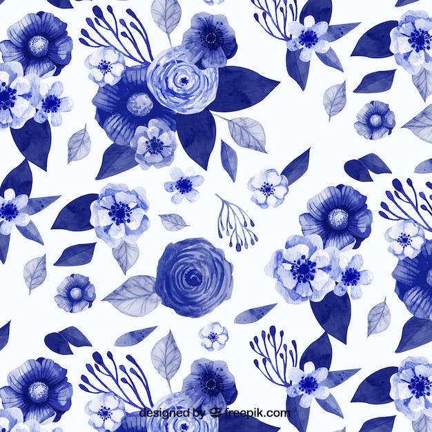 Pattern of watercolor blue flowers in vintage\ style