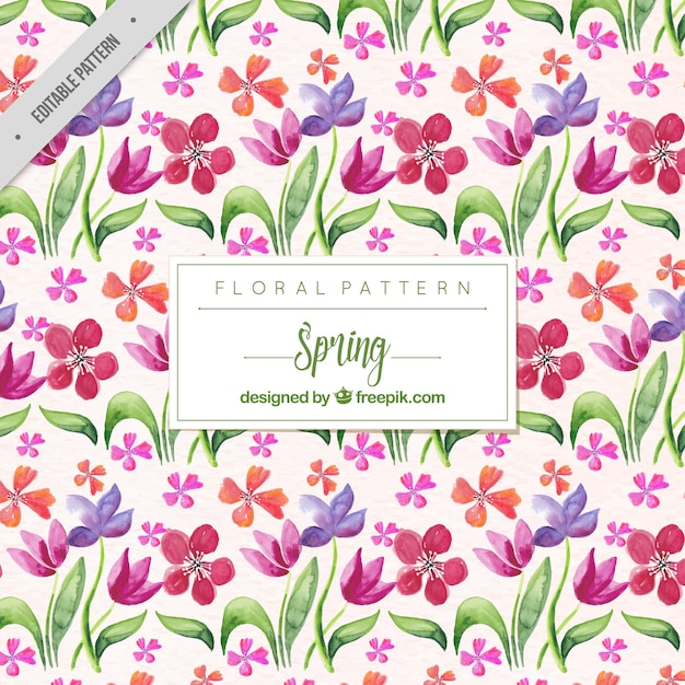 Pattern of watercolor flowers and leaves in\ vintage style