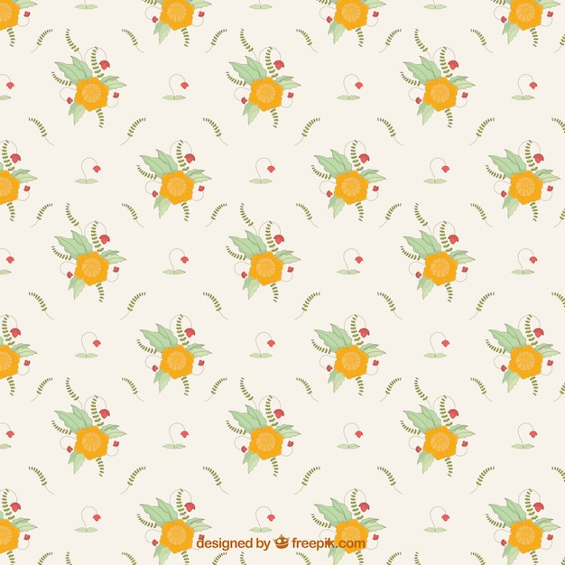 Pattern of yellow flowers and hand drawn\ leaves