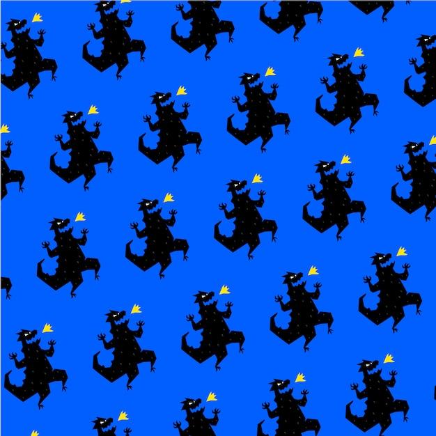 Pattern, ornament of dinosaur. vector. reptile in cartoon style. Premium Vector
