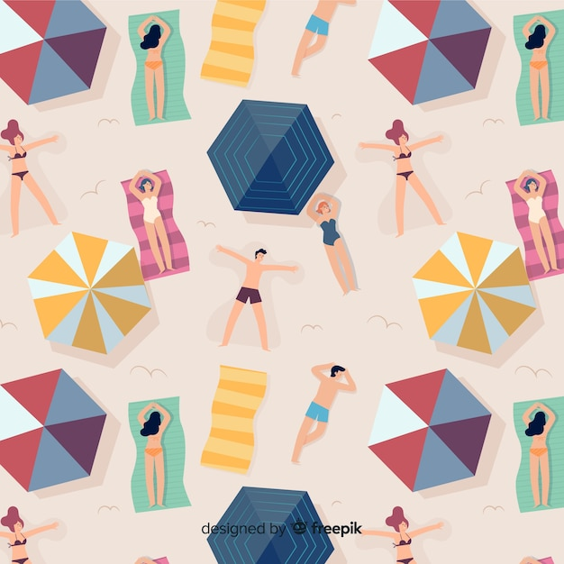 Pattern of people at the beach Free Vector