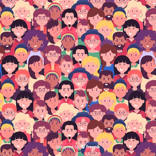 Pattern of people for youth day Free Vector