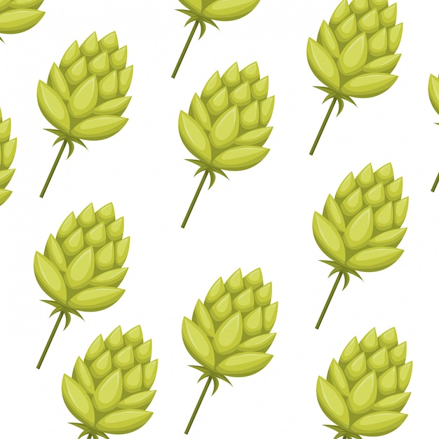 Pattern pinecone green isolated icon Premium Vector
