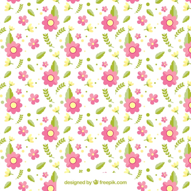 Pattern of pink flowers and leaves Free Vector