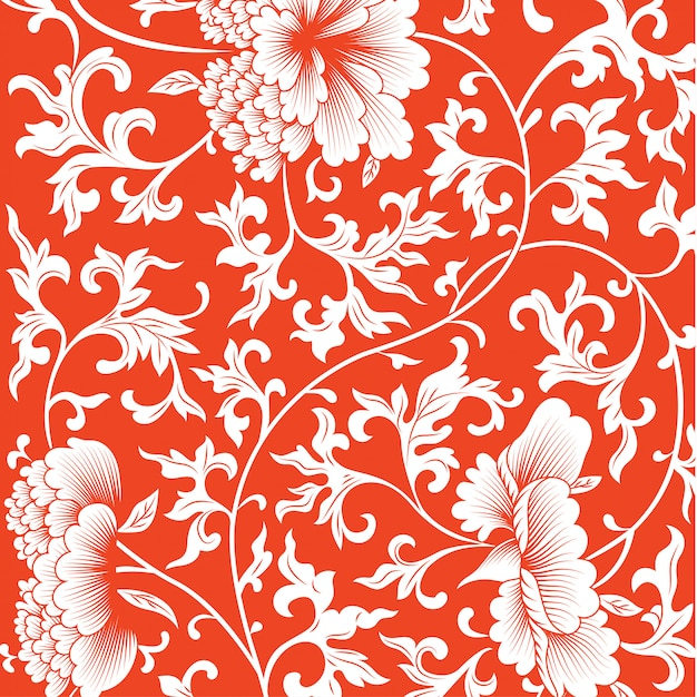 Pattern on red background with chinese flowers. Premium Vector