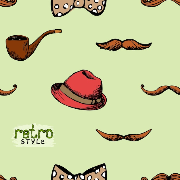 Pattern retro style hat and mustache. seamless background hipster style. Free Vector