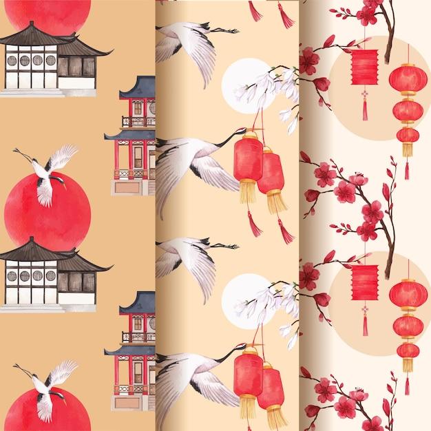 Шаблон шаблона с счастливым китайским новым годом концепция дизайна акварель иллюстрации Бесплатные векторы