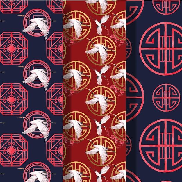 Modello del modello con l'illustrazione dell'acquerello di concetto di felice anno nuovo cinese Vettore gratuito
