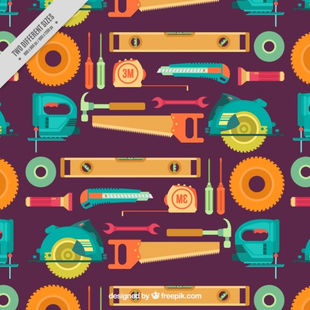 Pattern of tools in flat design Free Vector