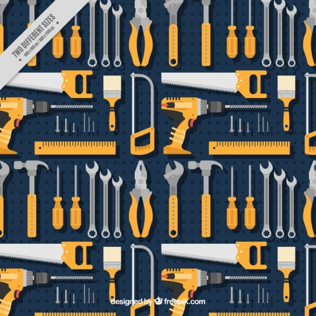 Pattern of various tools in flat design Free Vector