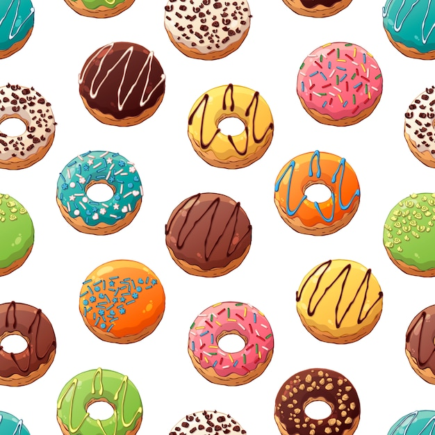 Pattern of vector donuts decorated with toppings Premium Vector
